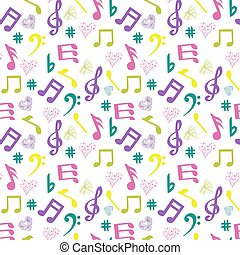 olorful music-notes and hearts on white background