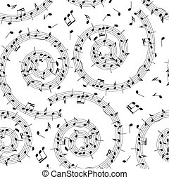 seamless pattern with music notes - vector background with spiral