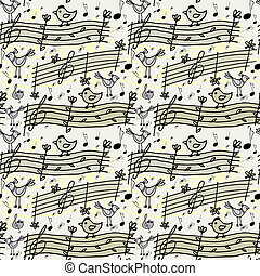 seamless pattern with musical notes and birdsong