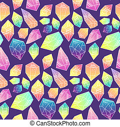 Seamless pattern with mystical crystals.