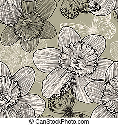 Seamless pattern with narcissus flowers and butterflies, hand drawing. Vector illustration.
