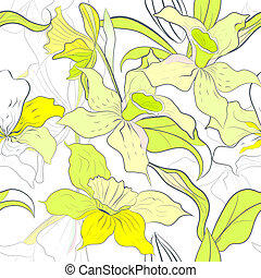 seamless pattern with narcissus flowers