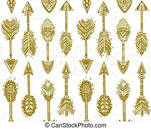 Seamless pattern with Native American Indian arrows in gold...