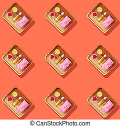 Seamless pattern with natural beauty products for hand hygiene and skin care