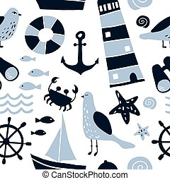 Seamless pattern with nautical design elements