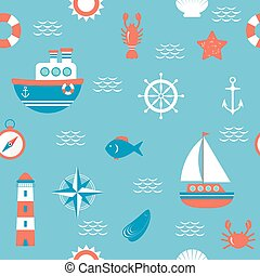 Seamless pattern with nautical design elements. Marine concept background