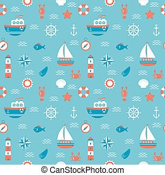 Seamless pattern with nautical elements. Marine concept background