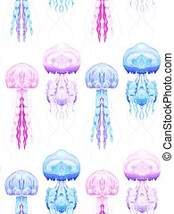 Seamless pattern with Neon jellyfish on white background. Marine residents. Vector texture