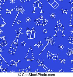 Seamless pattern with new year symbols.