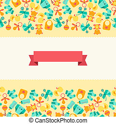 Seamless pattern with newborn baby icons.