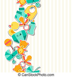 Seamless pattern with newborn baby stickers.