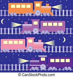 Seamless pattern with night trains - Cartoon seamless...