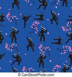 Seamless pattern with ninja in a black suit and sakura. Vector graphics.