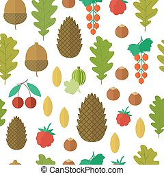 Seamless pattern with nuts and berries. Vector illustration