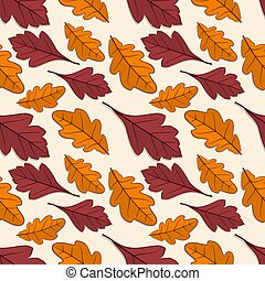 Seamless pattern with oak and hawthorn leaves