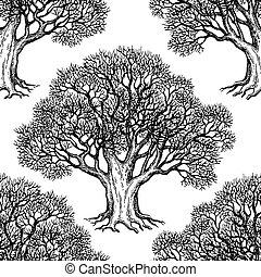 Seamless pattern with oak