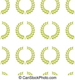 Seamless pattern with oak wreaths. Vector illustration