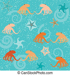 Seamless pattern with octopuses, shells and stars