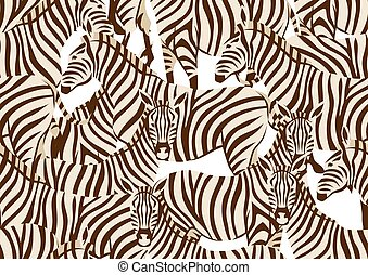 Seamless pattern with of zebras.
