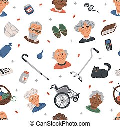 Seamless pattern with Old people. Portraits of Elderly persons and nursing home items on white background, medical care concept. Nursing home. Senior people healthcare assistance flat Vector illustration