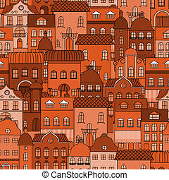 Seamless pattern with old town for background or wallpaper...