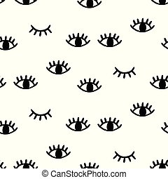 Seamless pattern with open and winking eyes