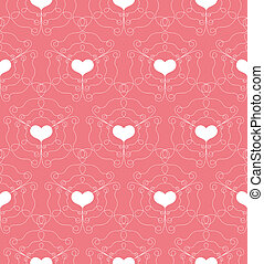 Seamless Pattern with openwork Hearts