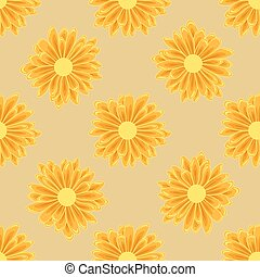 Seamless pattern with orange daisy flowers on a creamy background