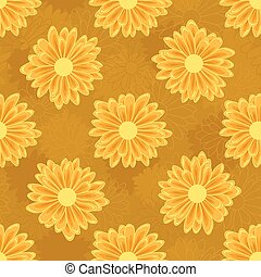 Seamless pattern with orange daisy flowers on an oher background