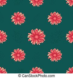 Seamless pattern with orange daisy flowers on green background