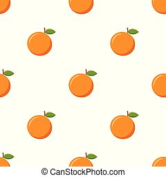 Seamless pattern with orange on white background