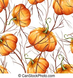 Seamless pattern with orange pumpkins 5