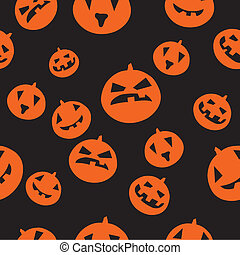 Seamless pattern with orange pumpkins on black background
