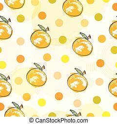 seamless pattern with oranges and polka dots