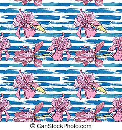 Seamless pattern with orchid flowers on the striped grunge blue