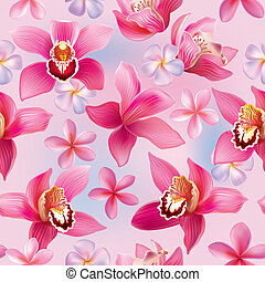 Seamless pattern with orchids and frangipani