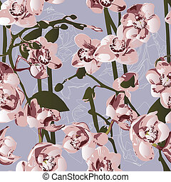 Seamless pattern with orchids