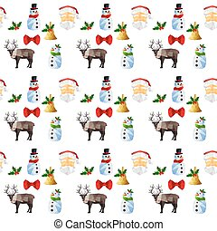 Seamless pattern with origami christmas objects