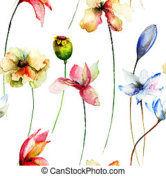 Seamless pattern with Original flowers, watercolor ...