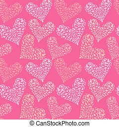 Seamless pattern with ornamental floral heart, Happy Valentine`s Day pink background. Design for Holiday card.