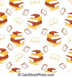 Seamless pattern with outline decorative books. Vector illustration