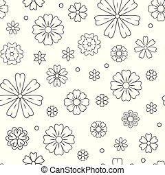 Seamless pattern with outline flowers for coloring book. Beautiful floral background for color artwork. Monochrome backdrop, summer flower drawing. Colouring line illustration