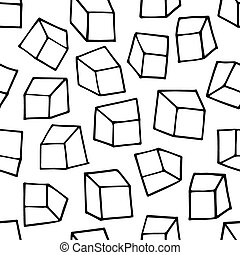 Seamless pattern with outline squar