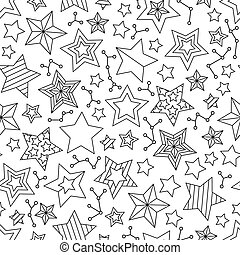 Seamless pattern with outline stars. Coloring book page for adults and older children.