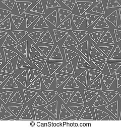 Seamless pattern with outline white nachos on black background
