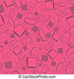 Seamless Pattern with Outlined School Items