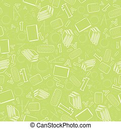 Seamless Pattern with Outlined White School Items