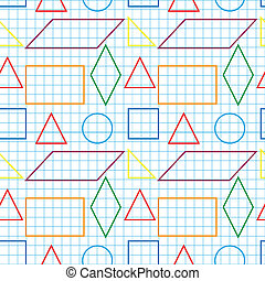 Seamless pattern with outlines of geomertical shapes