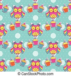 Seamless pattern with owls and cake