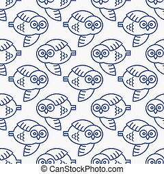 Seamless pattern with owls in flight